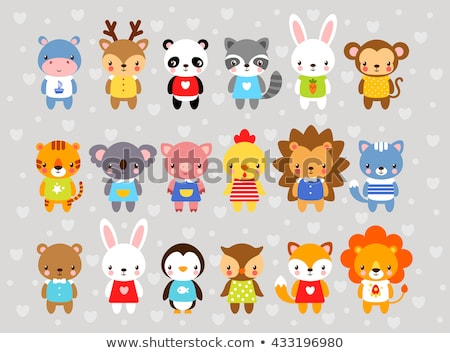 happy animal characters cartoon set stock photo © izakowski
