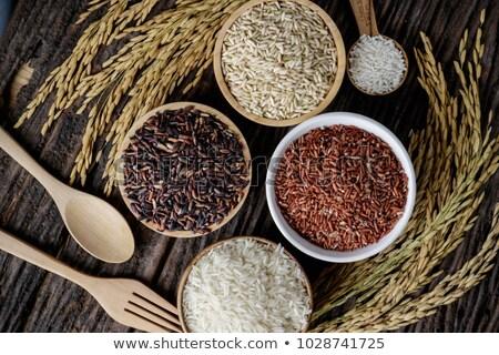 Siyah çanak organik kırmızı pirinç Stok fotoğraf © DenisMArt