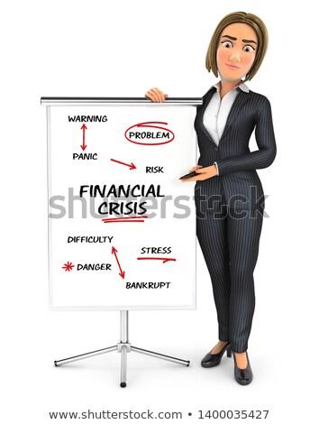 3D zakenvrouw schrijven financiële crisis illustratie geïsoleerd Stockfoto © 3dmask