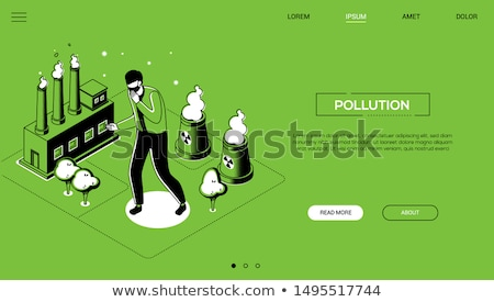 Air pollution - line design style isometric web banner Stock photo © Decorwithme