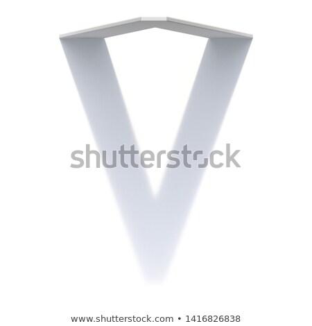 Vertical drop shadow font Letter V 3D Stock photo © djmilic