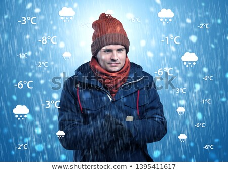 Jongen warme kleding weer voorwaarde jonge man prognose Stockfoto © ra2studio