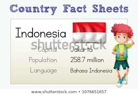 Indonesia Country Fact Sheet with Character Stock photo © colematt