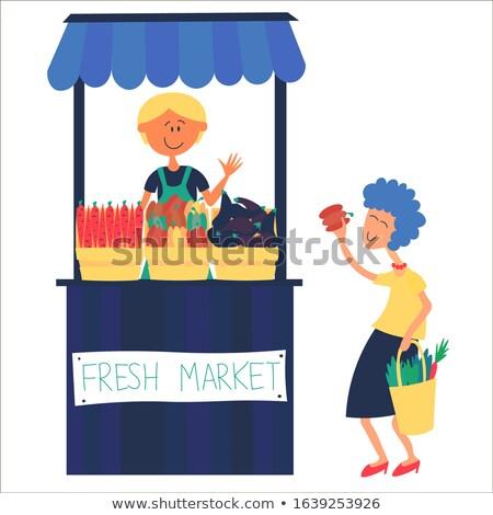 Mensen markt groenten verkoper cliënt man Stockfoto © robuart