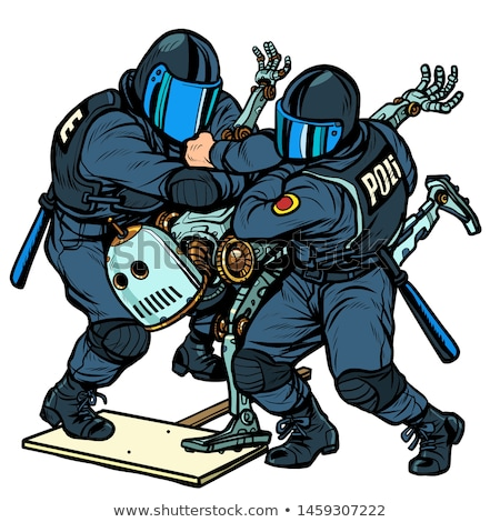 fighting the future police arrest a protesting robot stock photo © studiostoks