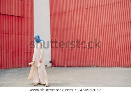 молодые мусульманских женщины синий хиджабе стены Сток-фото © pressmaster