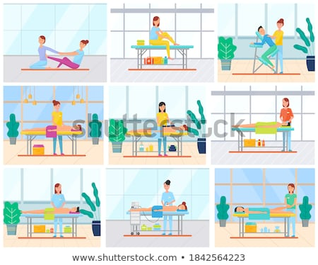 back massage and foot abdominal belly care vector stock photo © robuart