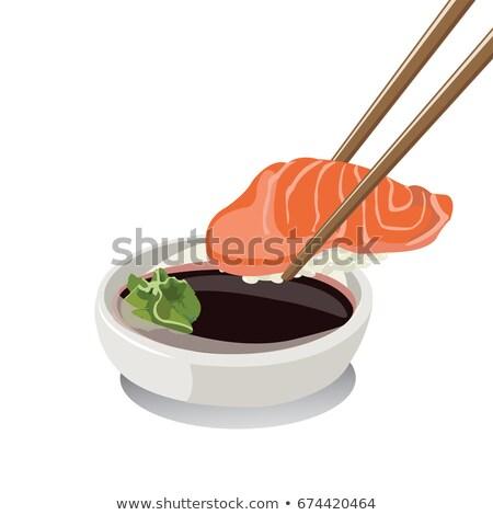 суши угорь соевый соус женщину стороны Сток-фото © OleksandrO
