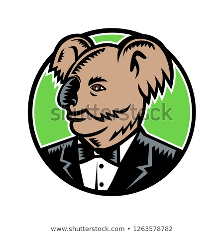 Koala Wearing Tuxedo Woodcut Color Stock photo © patrimonio