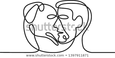 Man and Dog Face Side Continuous Line  Stock photo © patrimonio