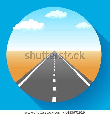 Landscape with sky and clouds, land and asphalt road with marking, empty highway in desert, vector i Stock photo © MarySan