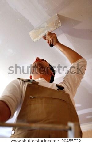trabalhador · teto · luvas · trabalhar · casa · quarto - foto stock © kzenon