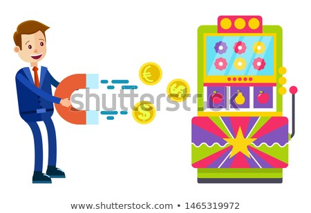 Slot Machine Man with Magnet Pulling Money Vector Stock photo © robuart