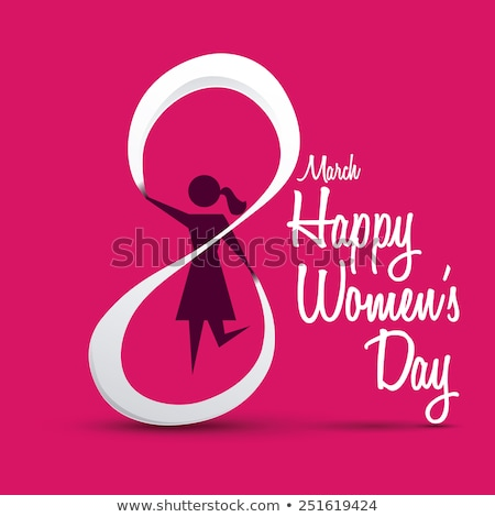 8 March Womens Day Celebration Poster with Girl Stock photo © robuart