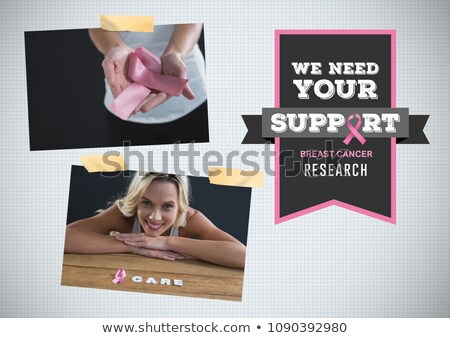 Сток-фото: Support Research Text And Breast Cancer Awareness Photo Collage