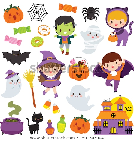 Stockfoto: Kawaii · cute · halloween · clipart · ingesteld · cartoon