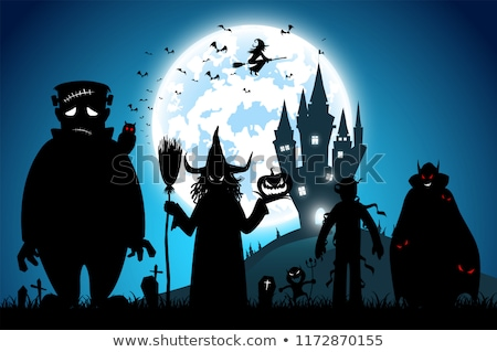 Heks dracula duivel pompoenen gelukkig halloween Stockfoto © choreograph