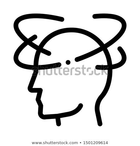Baş dönmesi adam siluet baş ağrısı vektör ikon Stok fotoğraf © pikepicture