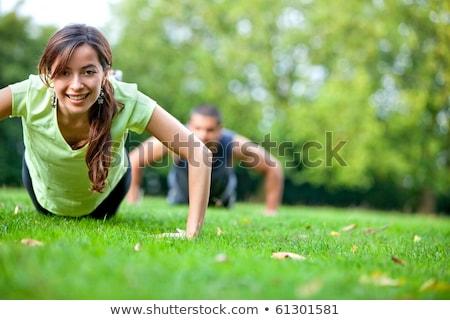 Фитнес-женщины · гири · за · пределами · crossfit · копия · пространства - Сток-фото © freedomz
