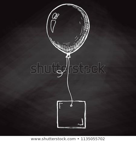 Stock fotó: Rajz · léggömb · kártya · kötél · hely · szöveg