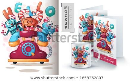Hallo monster poster vector eps 10 Stockfoto © rwgusev