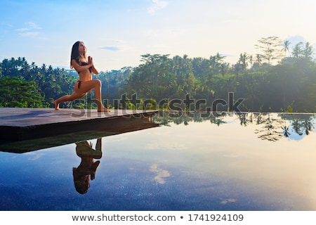 güzel · bir · kadın · yoga · meditasyon · çiçekler · kız · spor - stok fotoğraf © cienpies
