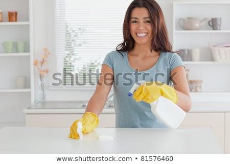 Belo feminino empregada trabalhos domésticos spray lavagem Foto stock © galitskaya