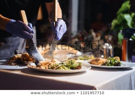 Adag esküvő vacsora vendéglátás szolgáltatás fa Stock fotó © galitskaya