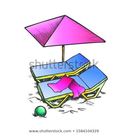 Iki şezlong şemsiye top mürekkep vektör Stok fotoğraf © pikepicture
