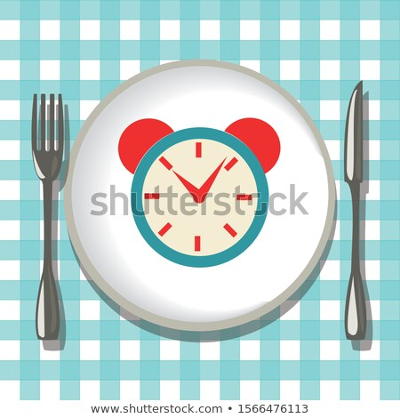 Flatware on checkered tablecloth, empty plate with folk, knife a Stock photo © Margolana