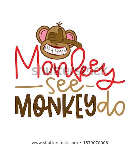 Maymun görmek komik çılgın kör el yapımı Stok fotoğraf © Zsuskaa