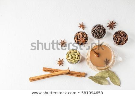 Ev yapımı Hint tatlı çay baharatlar kakule Stok fotoğraf © galitskaya
