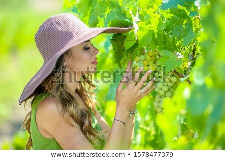 Closeup portrait of a pretty young woman who holds a bunch of grapes in her hands Stock photo © ElenaBatkova