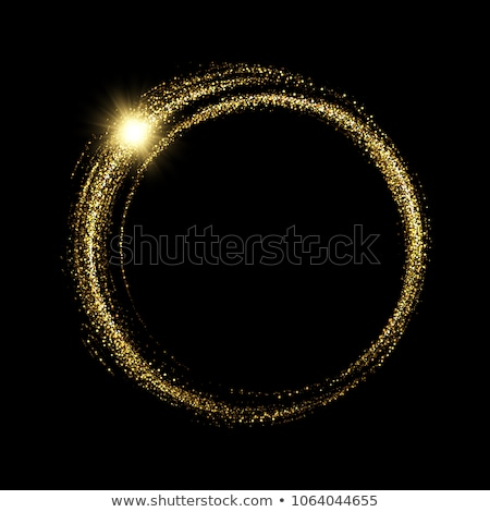 Vector black and gold abstract round luxury frame. Sparkling sequins on black background with gold Stock photo © Iaroslava