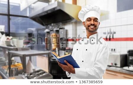 Gelukkig indian chef kookboek kebab winkel Stockfoto © dolgachov