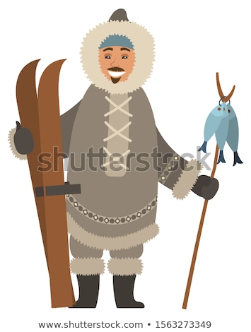 Arctic Hunter with Skis and Fish on Stick Vector Stock photo © robuart
