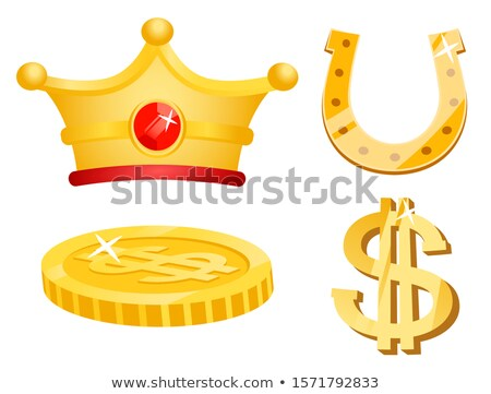 Golden Dollar Coin, Horseshoe and Royal Crown Stock photo © robuart