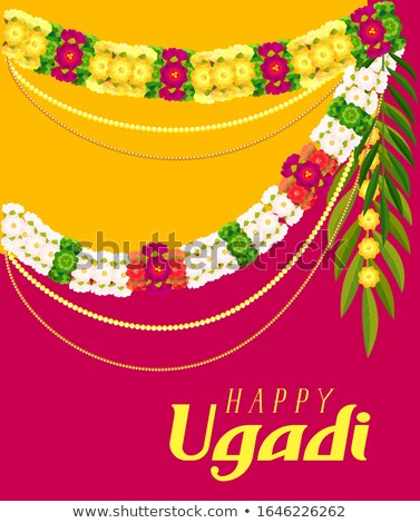Happy ugadi text greeting card. Floral garland mala Stock photo © orensila