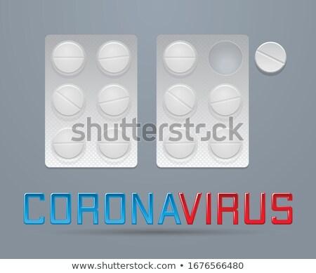 Vektor tabletták kettő hólyag koronavírus megelőzés Stock fotó © Elisanth
