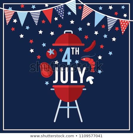 Negyedik BBQ nap tyúk ünneplés izolált Stock fotó © Freelancer