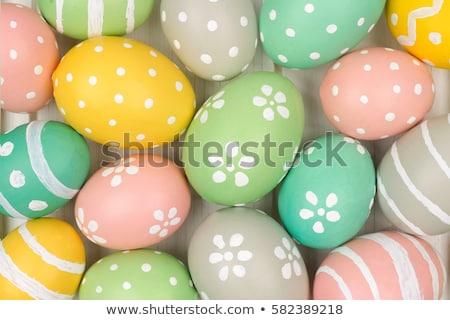 Pastel renk paskalya yumurtası renkli Paskalya düzen Stok fotoğraf © solarseven