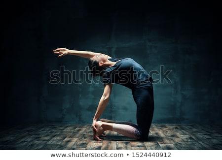 Jungen Yoga Hälfte Kamel Stock foto © GVS
