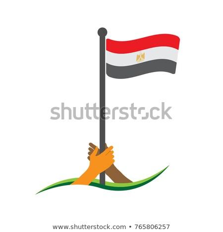 Egyiptom zászló kéz fehér háttér Afrika Stock fotó © butenkow