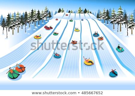 Child having fun on snow tube. Boy is riding a tubing. Winter fun for children Stock photo © galitskaya