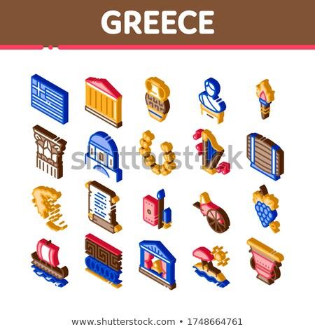 Grecja kraju historii izometryczny wektora Zdjęcia stock © pikepicture