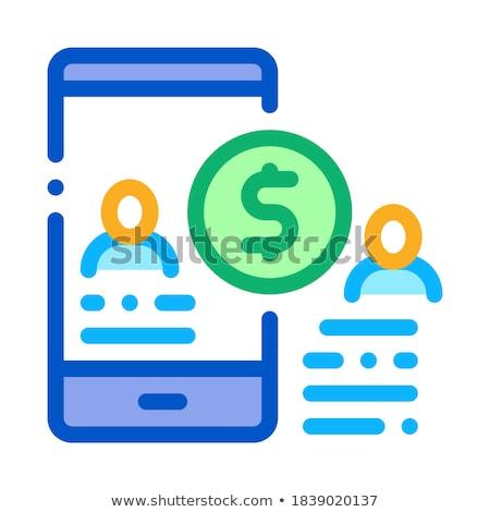 Transferir dinheiro pessoa telefone ícone vetor Foto stock © pikepicture
