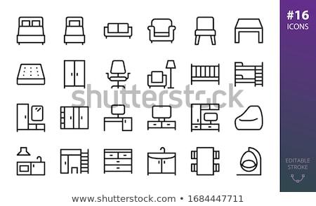 Mellkas fiókok izolált bútor vektor ikon Stock fotó © robuart