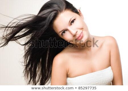 alegre · morena · cabelo · retrato - foto stock © lithian