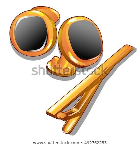 Nyakkendő gemkapocs mandzsettagombok ezüst láncszem pár Stock fotó © posterize