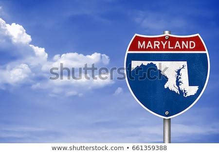 Мэриленд шоссе знак зеленый США облаке улице Сток-фото © kbuntu